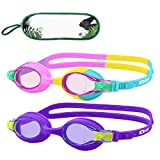 MONKEY FOREST Kid Swim Goggles, 2 Packs Anti-Fog No Leak Kids Swimming Goggles, Adjustable Strap Flexible Nose Bridge Design, Wide View Swim Glasses for Children and Teens (Age 6-14) (Rainbow)
