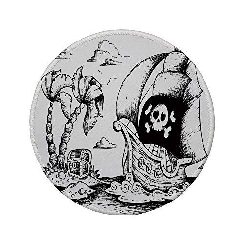 Rutschfreies Gummi-Rundmaus-Pad Pirat Zeichnung von Palmen und Segelboot Gefahrenschild Flagge Antik Schiff Treasure Island Dekorativ Schwarz Weiß 7,87 'x 7,87' x 3 mm