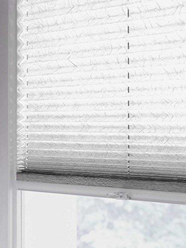 sun collection Plissee Faltstore, lichtdurchlässig und Blickdicht, Profilfarbe Silber mp (auch mit weißen Profilen erhältlich)