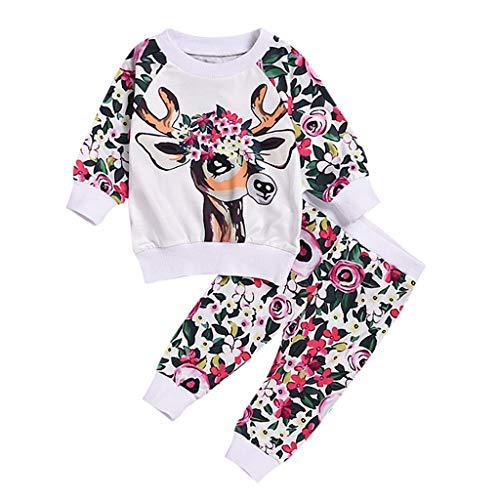 HSKB baby meisjes lange mouwen eland cartoon hert dieren print T-shirt top met broeken set jurken