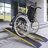 JLXJ Rampas 100cm/150cm de Largo Silla de Ruedas Rampa de Umbral, para Escalones de Puerta Bicicleta Scooter Aluminio Ligero Portátil Antideslizante Rampa para Discapacitados (Size : 150cm(5ft))