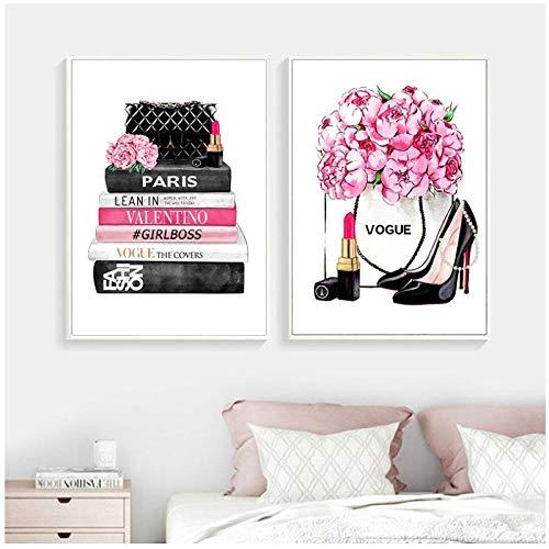 MULMF Fashion Wall Art Prints Hoge Hakken en Vogue Lipstick Foto Poster Roze Bloemen Canvas Schilderen Meisjes Kamer Thuis Decor- 60X80Cmx2 Geen Frame