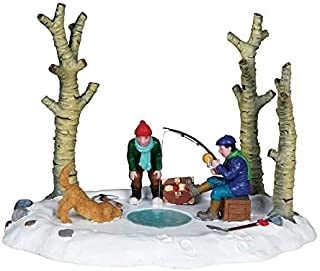 2010 Lemax I've Got One! Ice Fishing Village Table Accent Figure