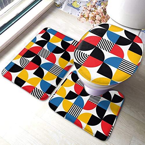 RedBeans Bauhaus Style Abstraktes geometrisches Muster rutschfeste Badematte 3-teiliges Badteppich-Set inkl. weicher Badematte und Toilettensitzbezug