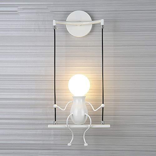 MC - Muñeca de moda para niños, aplique de pared moderno, salón o dormitorio, creativo, luz de noche, vacaciones, regalo de boda (blanco)