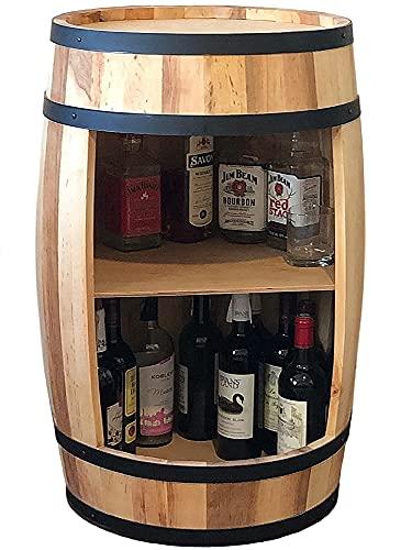 Holzfass - Fassbar - Weinschrank - Weinregal Getränkeschrank - Wine Rack Holzregal 80cm. Deko Zimmer - Modern Aufbewahrungsschrank. Fass für Gin whisky bier Gläser und Flaschen. Schrank organizer