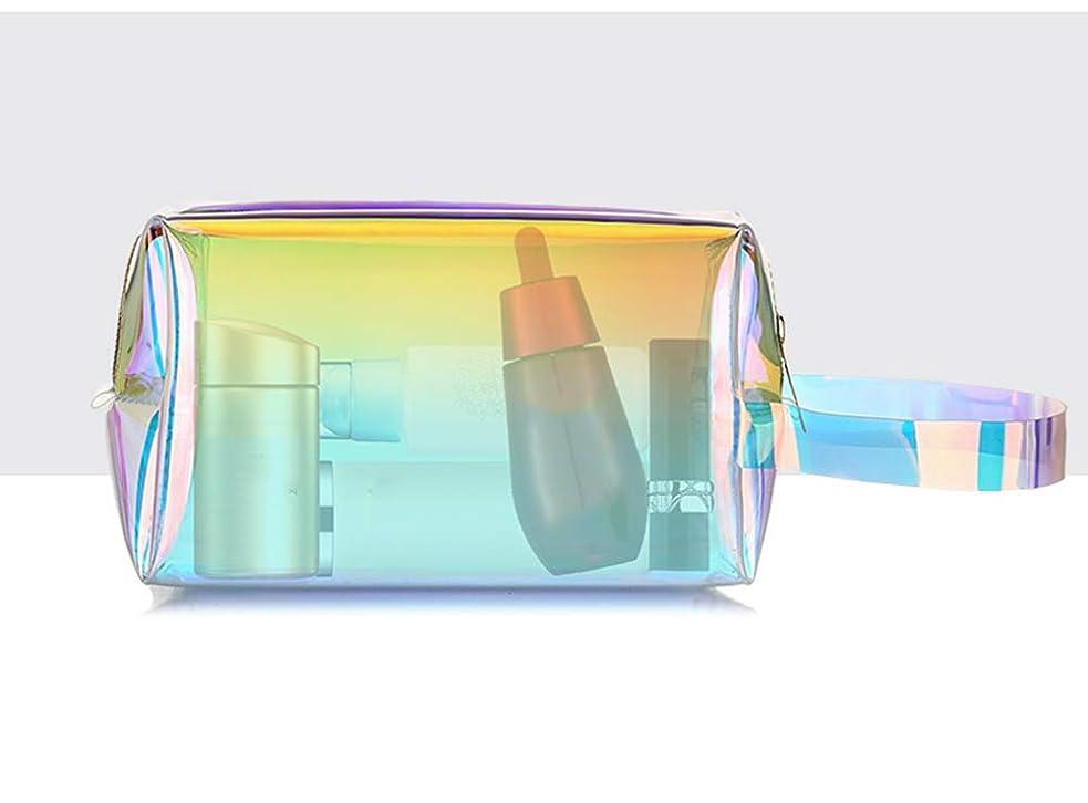モーション最近集団ホーム朵 メイクポーチ 化粧バッグ オーロラカラー レーザー 透明バッグ 防水 収納携帯用 おしゃれ コスメポーチ たっぷり収納 旅行 便利 大容量 超軽量