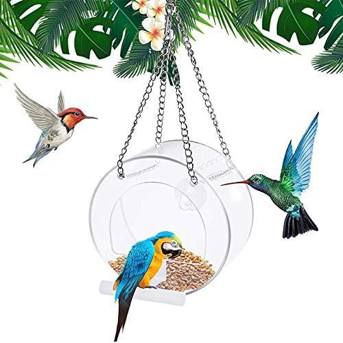 Xuebai Vogels Feeder Met Hangende KettingTransparante Vogels Voedsel BoxAntiSpray Voedsel Doos Opknoping Vogels Vogels Feed Box Voor Tuin Outdoor