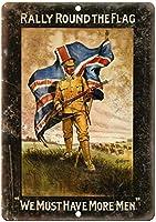ラリーラウンドフラグイングランド戦時ポスターレトロな外観の金属看板