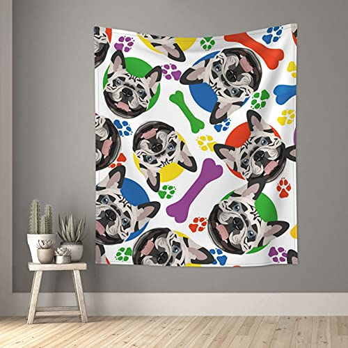 Tapiz colorido Bulldog francés lindo perro tapices pequeños de pared para dormitorio, sala de estar, ventana de estar, separador de habitación 152 x 129 cm
