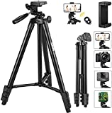 TECCPO Portable Tripod, for Laser Level, Bluetooth, Lightweight Tripod for Phone/Camera, 360° Ball Head, 15.7-53 Inch Adjustable, Universal Clip, Carry Bag, for Travel, Home, Construction - PMLT01H