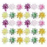 NUOBESTY 100Pcs Star Pull Bows Envoltura de Regalo Lazos de Cinta Arcos de Cuerda de Tirón de Flores Caja de Regalo Arcos de Envoltura para Regalos Cestas Botellas de Vino Decoración de