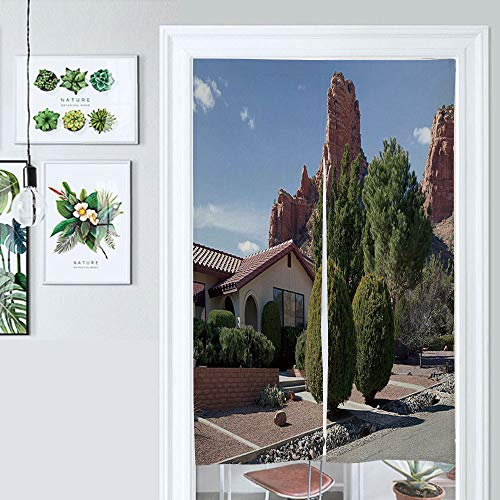 SUPNON Hanging Japanese Noren Curtain Sedona Residence Arizona Custom Made Curtain Doorway Panel Room Dividers for Partition Home Restaurant IS108545 W33.5 x L59