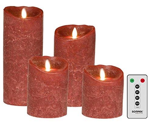 Preisvergleich Produktbild sompex 4er Set Flame LED Echtwachskerzen Bordeaux Frost 10 / 12, 5 / 18 / 23cm mit Fernbedienung