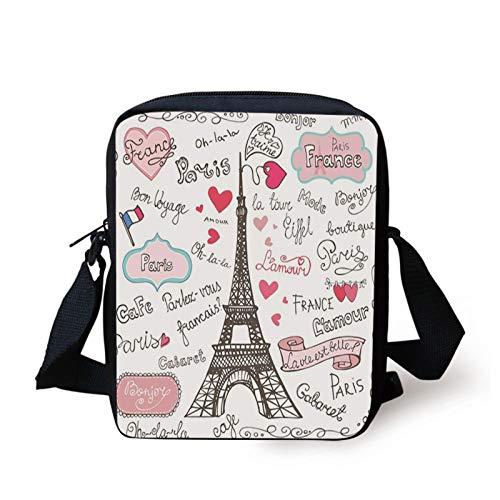 Eiffel Tower Kids Crossbody Messenger Bag Purse,Paris Lettering Heart Shapes Flag Ornamental Sketchy Doodle,Cross Body Bags boys Girls 3D Printed Shoulder Bag,Black White Pink