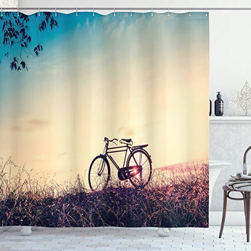 ABAKUHAUS Jahrgang Duschvorhang, Sonnenuntergang Fahrrad Pastell, mit 12 Ringe Set Wasserdicht Stielvoll Modern Farbfest & Schimmel Resistent, 175x220 cm, Hellblau Schwarz Pfirsich