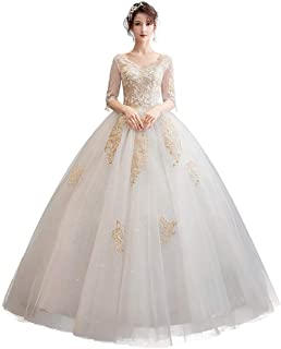 Bride Lace Wedding Dress Elegant Prom Gown Formal Party Long Tulle Sleeves Fluffy Skirt beautiful