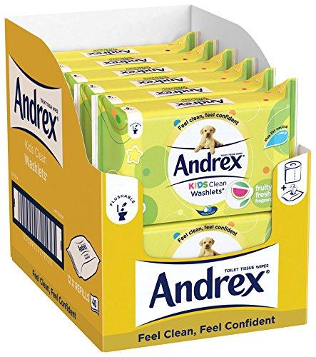 Andrex Washlets herunterspülbares Toilettenpapier, Tücher, für Kinder, 12Stück