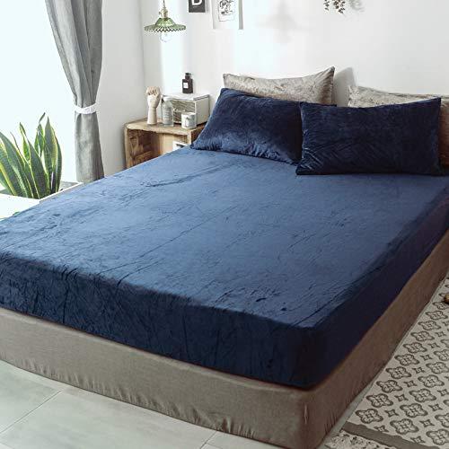 HAIBA Sábana bajera ajustable lisa térmica cálida suave cama de lujo cuatro esquinas con cinturón elástico funda de colchón, azul 2,120 x 200 + 25 cm