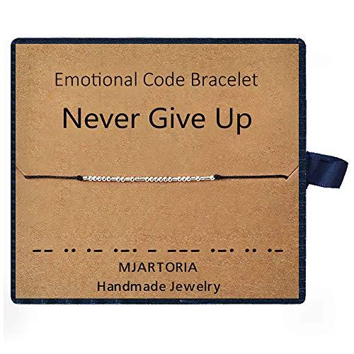 MJARTORIA Morse-Code Armband Damen Seil Armkette Fußkettchen Silber Farbe Freundschaftsarmbänder (Never give up)