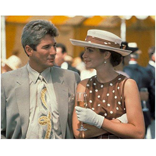 Pretty Woman (1990) 8 Inch x 10 Inch photograph Julia Roberts Brown/White Dress & Hat w/Richard Gere Grey Suit kn
