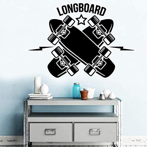 Longboard Vinyl Wandaufkleber Wandaufkleber Dekorative Wandaufkleber Kinderzimmer Dekoration Wandtattoo Aufkleber Wandbild Tapete 58Cm X 82Cm
