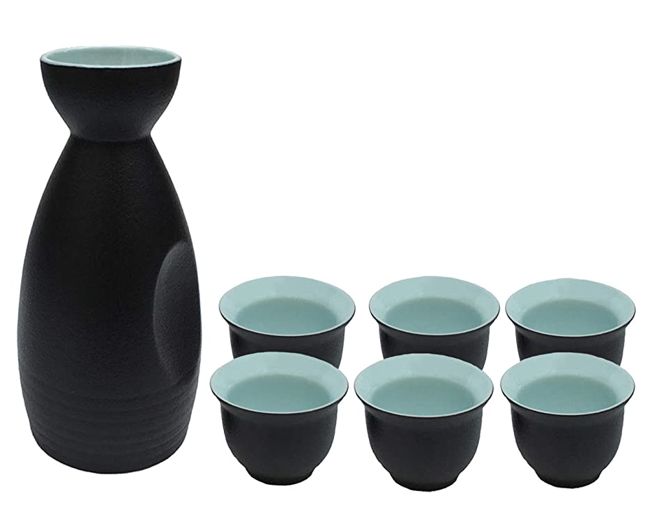 KCHAIN 7PCS Ceramic Sake Set Handcraft Traditional Pottery Black and Blue Color with 1PC Sake Carafe and 6PCS Sake Cups