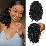 Qangelabeauty Short Afro Curly Ponytail Hair Piece for African American Black Women Ponytail Extension Afro Drawstring Curly Ponytail for Women (1B)