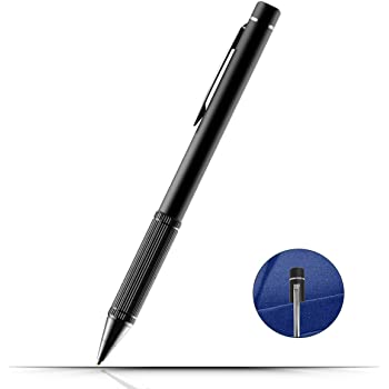 TBOYA タッチペン 極細 スマートフォン タブレット スタイラスペン 金属製 軽量 充電式 タブレットペン 銅製ペン先 iPhone Android タブレット対応 銅製1.45mmペン先 (ブラック)