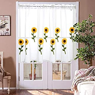 LCXX 1 Piece Voile Sheer Valance - Kitchen Window Treatment Voile Valances Sunflower Embroidery Sunflower Sheer Tier Curtains for Small Window/French(W39 x L20 Inch)
