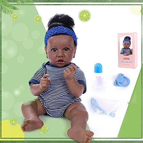 ZIYIUI 22 inches 55 cm Reborn Baby Dolls African American Black Boy Dolls Soft Silicone Vinyl Lifelike Handmade Newborn Toddler Reborn Dolls Gift For Girls (Reborn Babies)