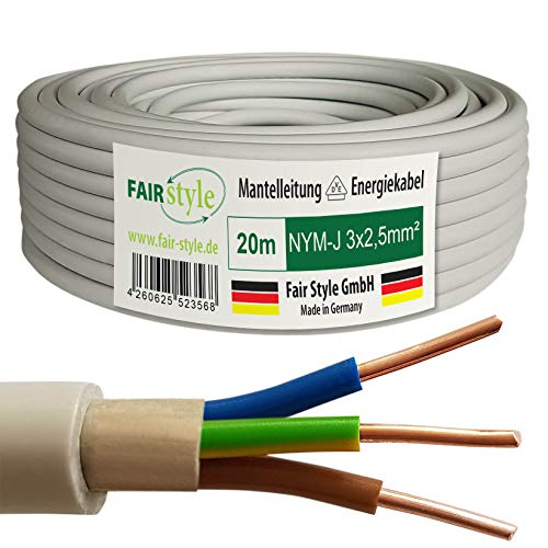 Fair Style 20m NYM-J 3x2,5 mm² Mantelleitung Feuchtraumkabel Elektrokabel Kupfer Made in Germany