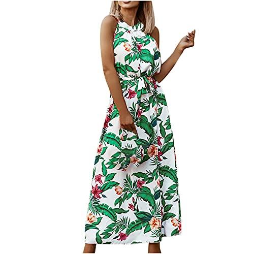 AMhomely Mujeres Vestidos Venta Promoción Liquidación Señoras Verano Cintura Alta O-Cuello Bohemio Retro Impreso Cinturón Playa Vestido Reino Unido Tamaño Fiesta Elegante Vestido