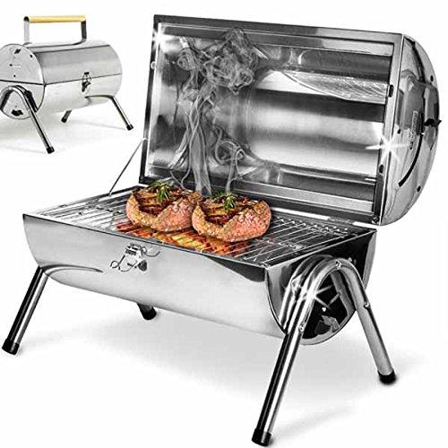 BAKAJI Barbecue a Carbone con Coperchio e Ripiano D'appoggio Porta Oggetti BBQ Collection (Piccolo (da Tavolo))