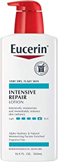 Eucerin Intensive Repair Lotion - Rich Lotion for Very Dry, Flaky Skin - Use After Washing With Hand Soap - 16.9 Fl Oz