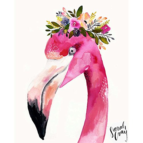 RainBabe Handmade Digital Flower Flamingo Oil Painting DIY Paint By Number Kit for Drawing Beginner