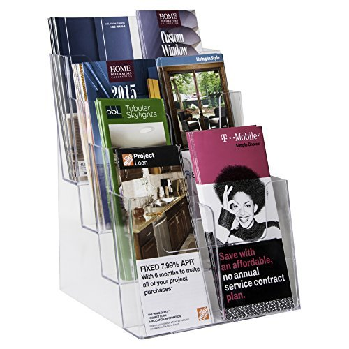 Clear-Ad Acrylic Brochure Holder - 4 Tier Pamphlet Holder with Removable Dividers - Desktop or Wall Mount Rack Card Holders - Flyer or Pamphlet Display Stand - Brochure Organizer LHF-S84 (Pack of 1)