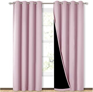 Best NICETOWN Full Shading Curtains for Windows, Super Heavy-Duty Black Lined Blackout Curtains for Girl