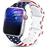 OHOTLOVE Compatible with Apple Watch 38mm 40mm 42mm 44mm for Women Men, Soft Silicone Pattern Printed Replacement Wristband Band For Iwatch Series 6 & Series 5 4 3 2 1.Old Glory D