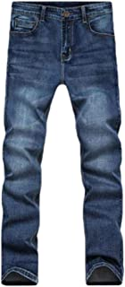HEFASDM Mens Washed Mid Waist Straight-Fit Stretch Pockets Slim Fitted Jeans