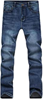 Howely Men Middle Waist Washed Slim Fitted Straight Stretch Pockets Jeans