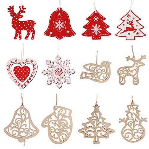 12 Pezzi Ciondoli di Natale in Legno Addobbi Natalizi Abbellimenti per Albero Decorazioni Natalizie Pezzi Natale in Legno Pendente Ciondolo Decorazioni per Albero di Natale e Decorazioni per Feste