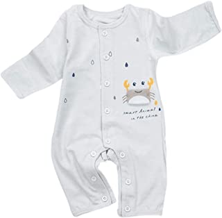 Eveliyning Neugeborenes Baby Langarm Strampler Baumwolle Cartoon Krabben & Regen Print Baby Overall