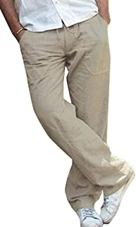 Unko Men Linen Cotton Relaxed-Fit Elastic Waist Straight Pants Beach Pant with Drawstring