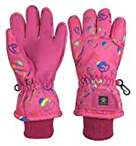 N'Ice Caps Kids Scroll Print Waterproof Thinsulate Insulated Winter Snow Gloves (Fuchsia Hearts, 11-13 Years)