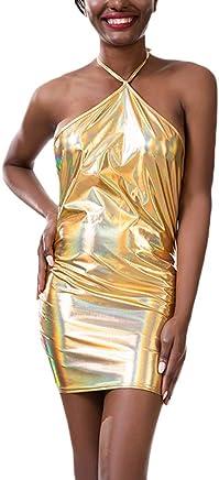 qiansu Women Bodycon Short Mini Dress Women Hologram Dress Backless Wetlook Outfits Vintage Laser Club Wear Shiny Metalic Dresses