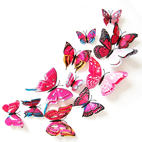 Oblique-Unique 3D Schmetterlinge Doppelflügel Effekt Blumen 12er Set Dekoration Wandtattoo (Pink)