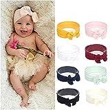 8 Stück Stretchy Nylon Stirnband mit Bögen Pom Pom Brötchen 6,3 zoll Große Haar Bogen Stirnband für Säuglings Baby Mädchen