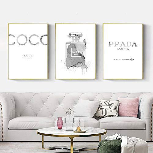 WTYBGDAN Citas Impresión de Moda Pintura Perfume Arte de la Pared Poster Lienzo Abstracto Impresiones Cuadros de Pared nórdicos para la decoración de la Sala de Estar | 50x70cmx3Pcs / Sin Marco