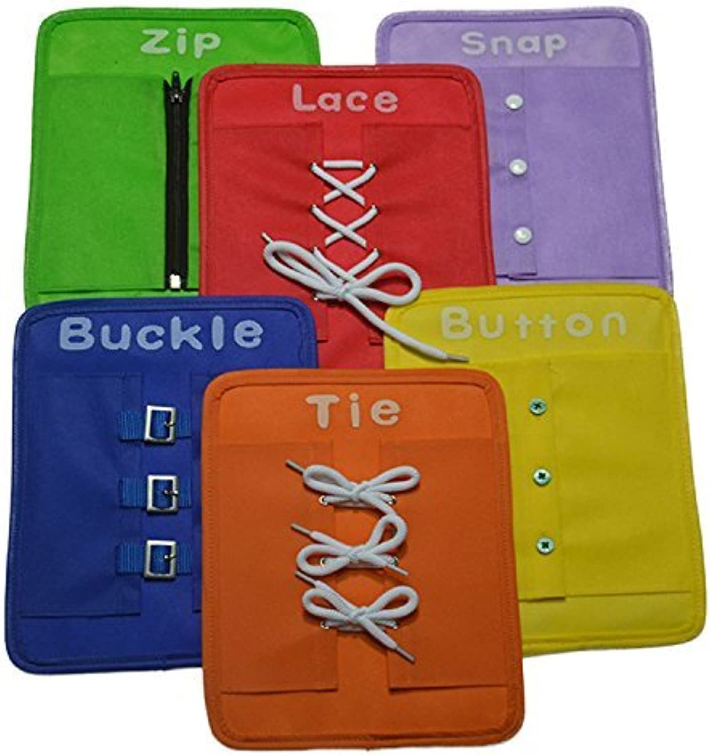 Yoovi Early Learning Basic Life Skills Learn to Dress Boards  Zip, Snap, Button, Buckle, Lace & Tie 6 pcs set by Yoovi